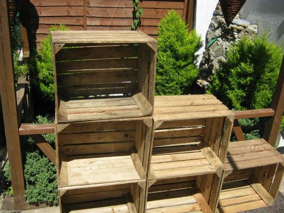1 x Boîtes en bois rustiques Vintage Apple européen idéal  – Caisses en bois – Caisses à Pommes